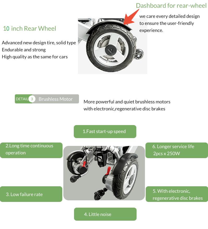 A08 electric wheelchair 10inch rear wheel 250w motor